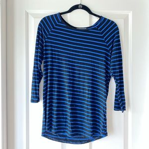 blue and black striped top